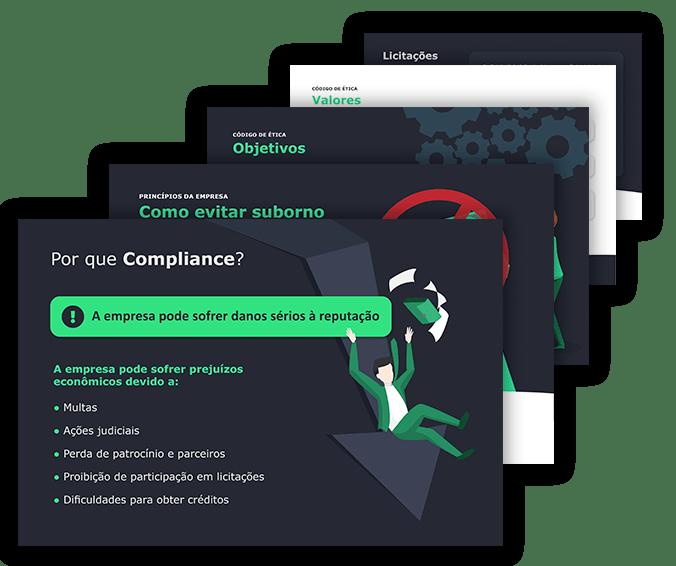 Telas do treinamento de Compliance