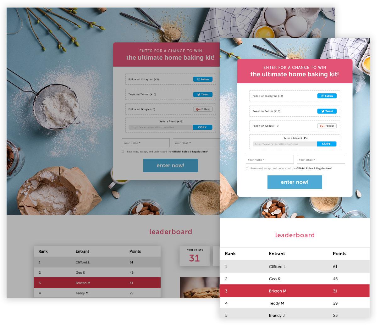 mobile responsive leaderboard contest