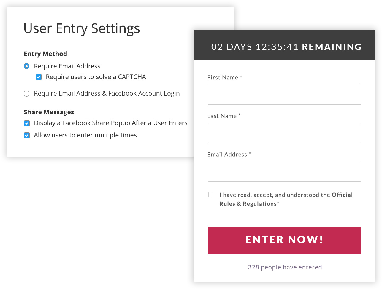 wishpond sweepstakes entry settings