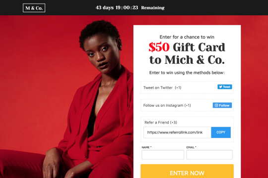 ecommerce gift card giveaway page