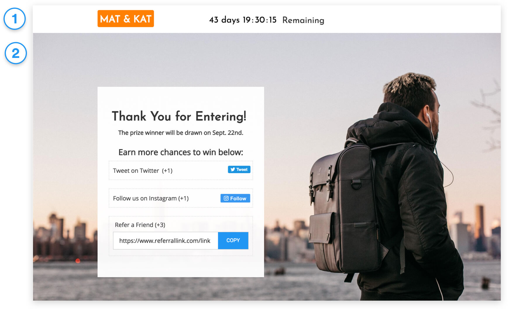 ecommerce giveaway thank you page