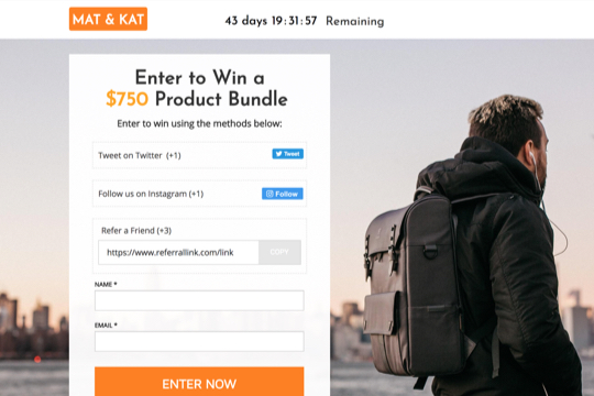 ecommerce giveaway page