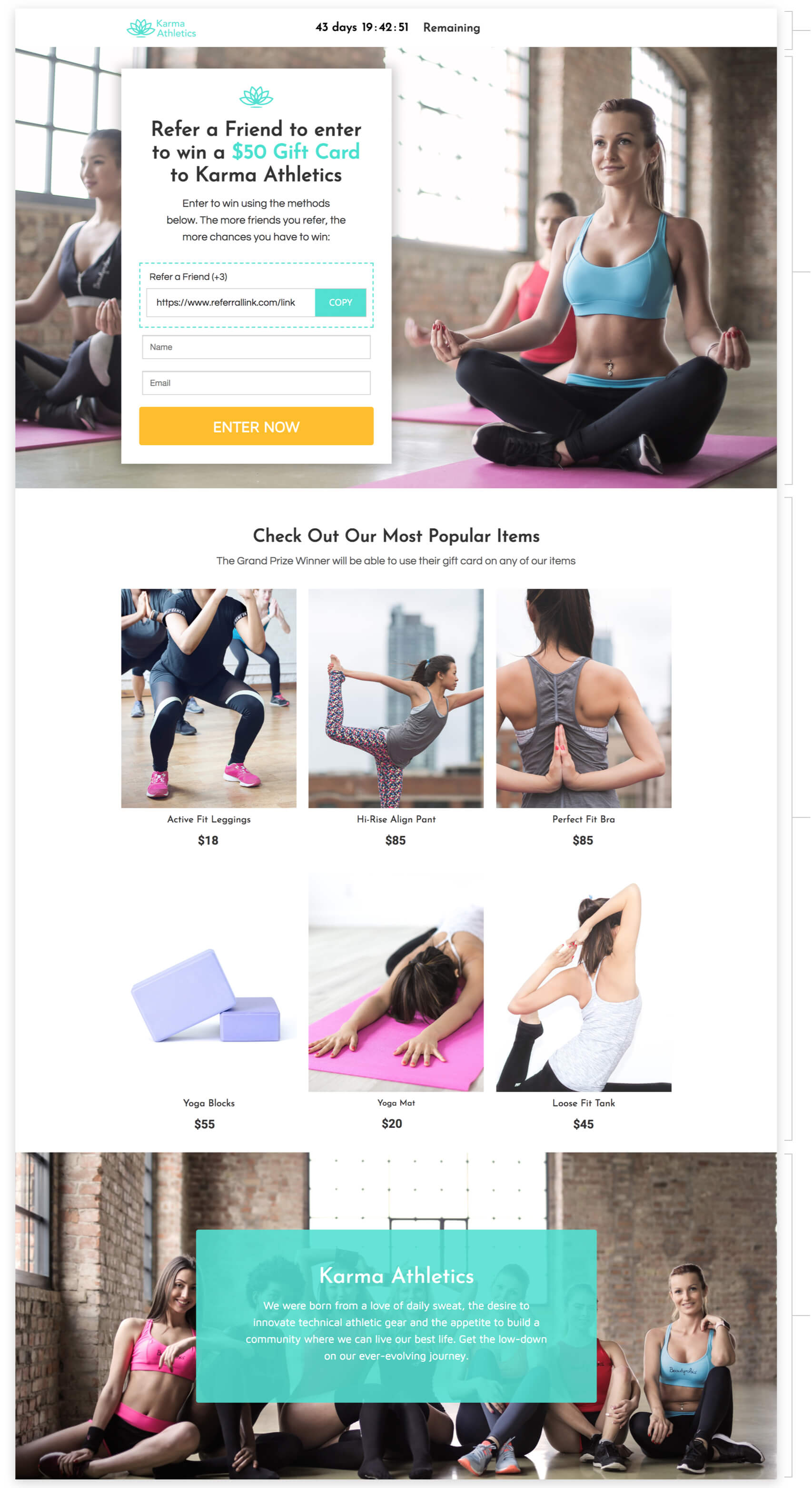 Ecommerce Refer-a-Friend Contest landing page