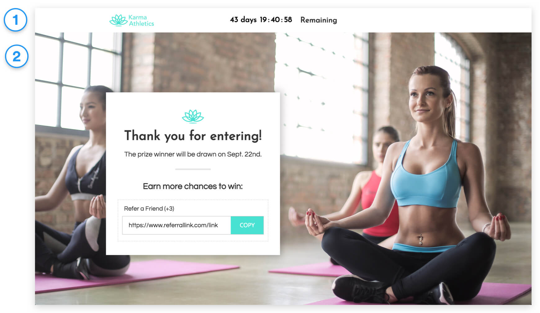 Ecommerce Refer-a-Friend Contest thank you page