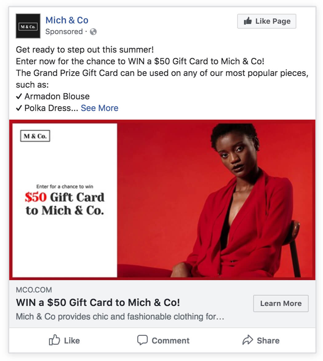 ecommerce gift card giveaway facebook ad
