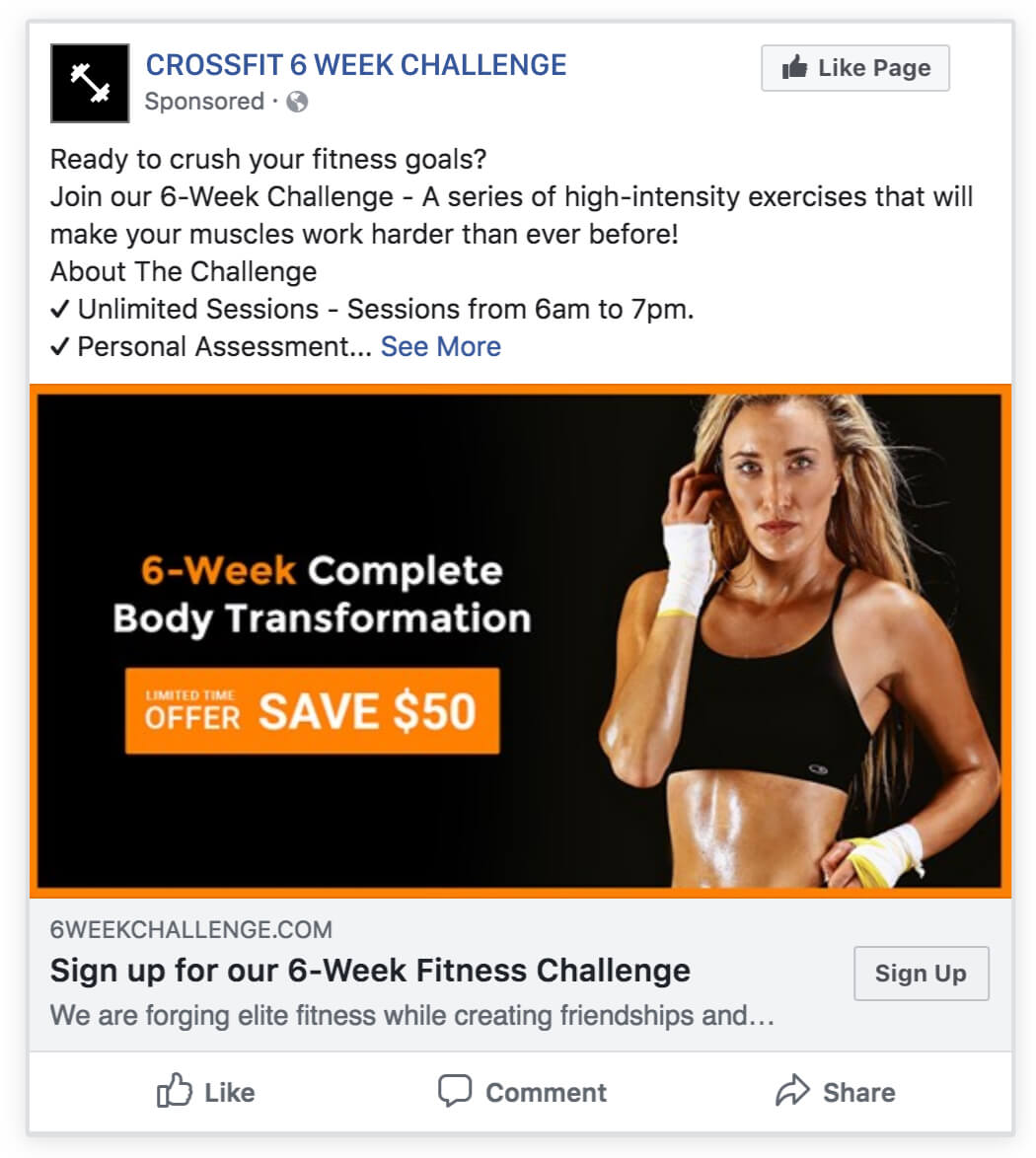 6-week fitness crossfit challenge facebook ad