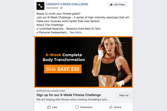 6-week fitness crossfit challenge signup facebook ad