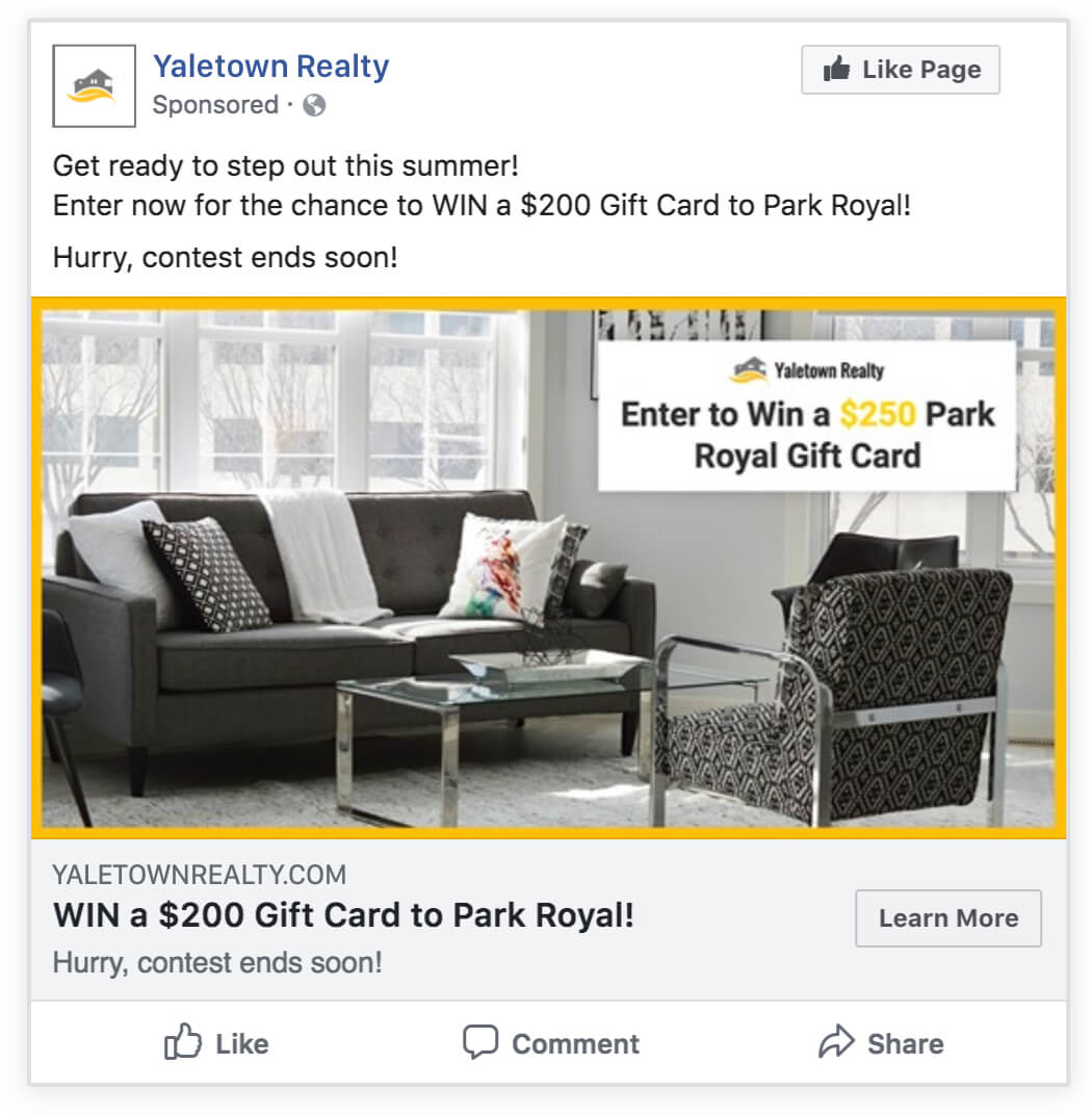 Real Estate Gift Card Giveaway facebook ad