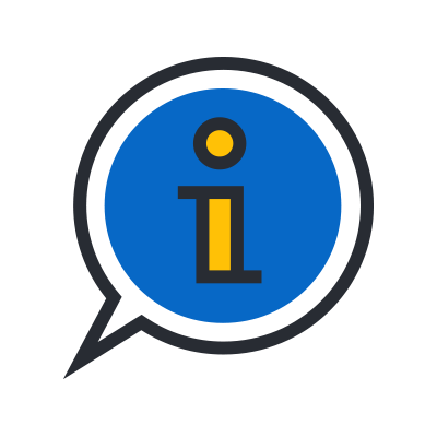 letter i in a conversation balloon