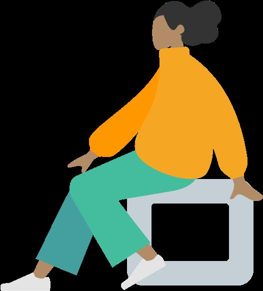lady sitting in modern bench