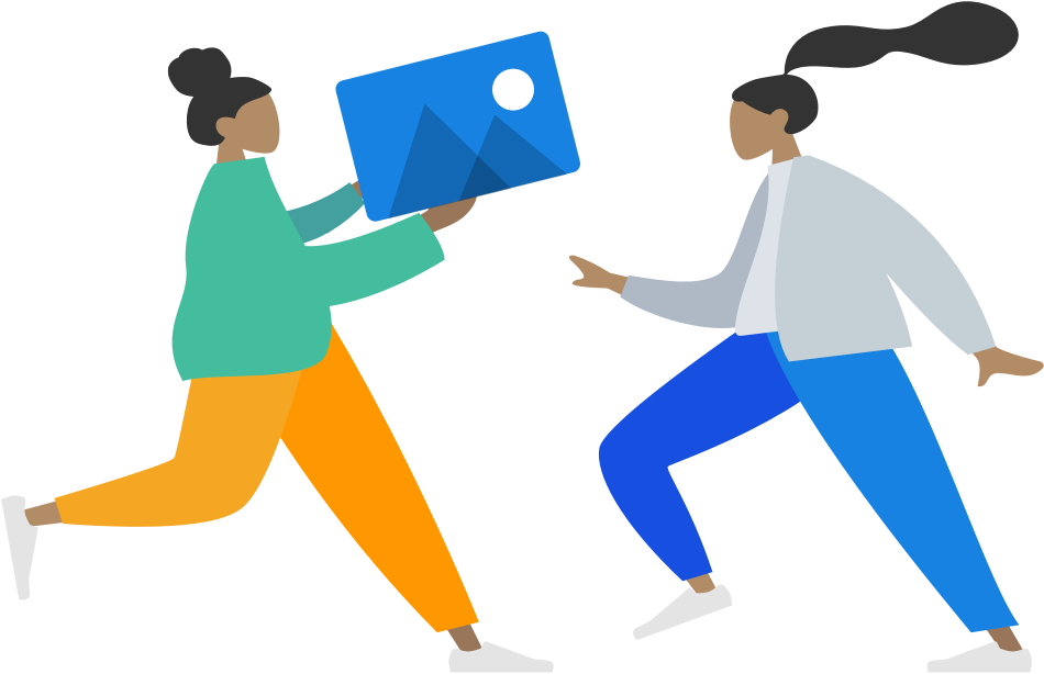 ladies running towards each other holding an image