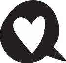 heart in a speech balloon